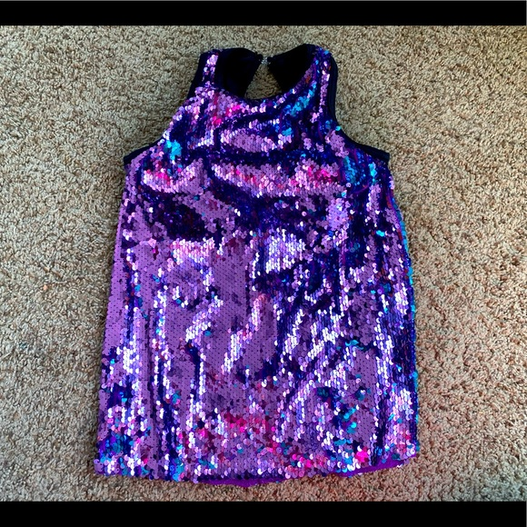 Weissman Dance purple and teal sequin tank top